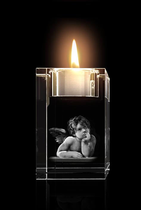 3D Laser Kristall Glasblock Mit Led Beleuchtung | Die Raffael Engel Als Hochwertige Glasinnengravur Bei Glasfoto Com