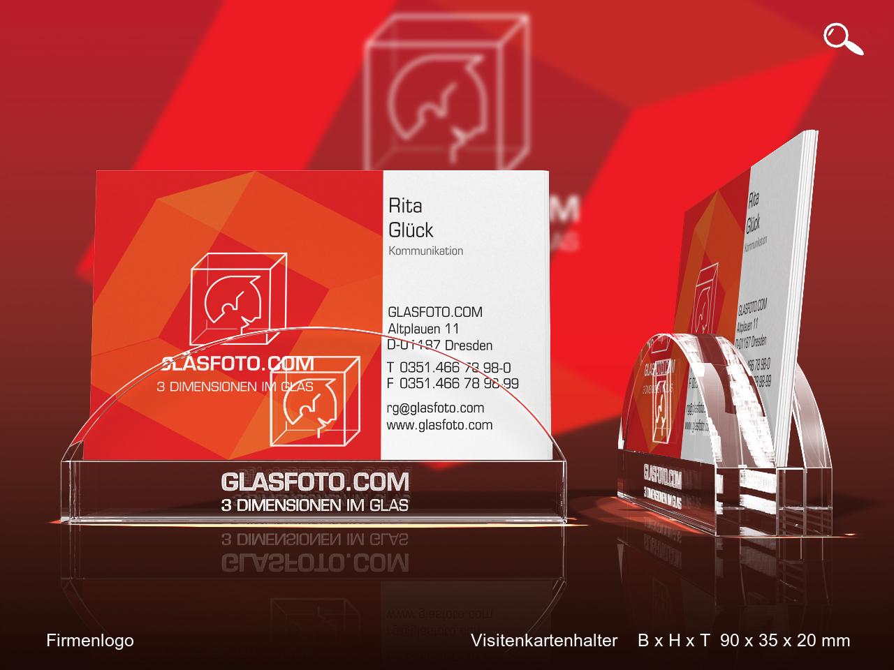 Visitenkartenhalter Mit Logo Von Glasfoto Com
